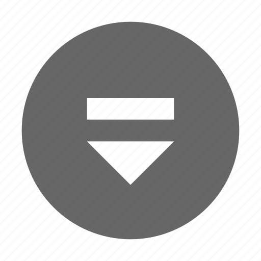 circle, down, eject, solid icon