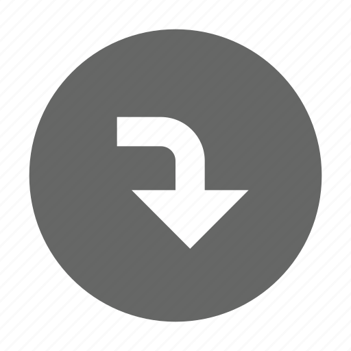 arrow, bottom, direction, down, download, save, turn icon