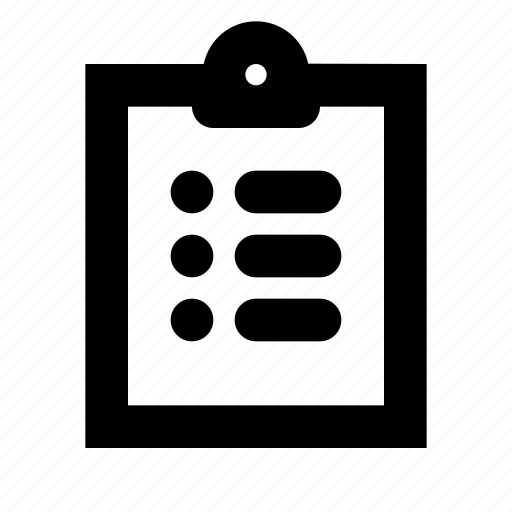 bulleted, checklist, clipboard, document, list, sheet, tasks icon