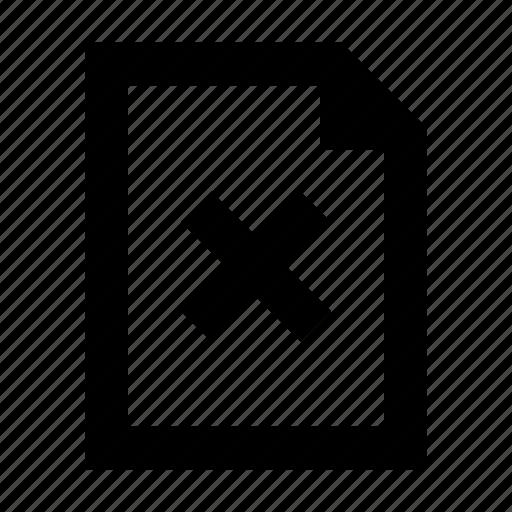 cross, document, error, file icon
