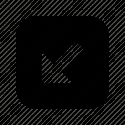 arrow, bottom left, direction, down left, navigation, southwest icon