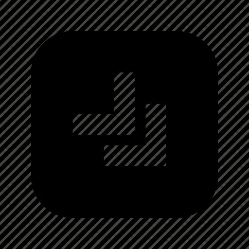 bottom, chevron, right icon