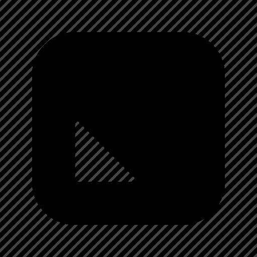 bottom, left, triangle icon