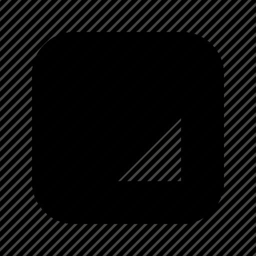 bottom, right, triangle icon