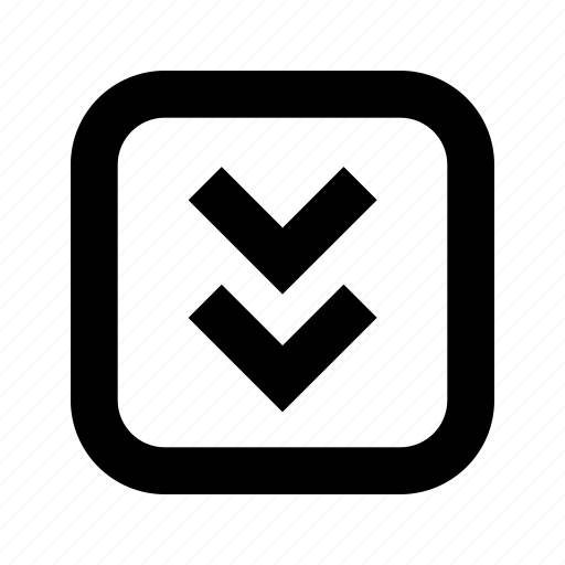 bottom, chevron, rounded, square icon