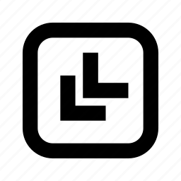 bottom, chevron, left, rounded, square icon