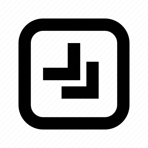 bottom, chevron, right, rounded, square icon