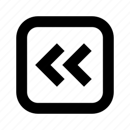 chevron, left, rounded, square icon