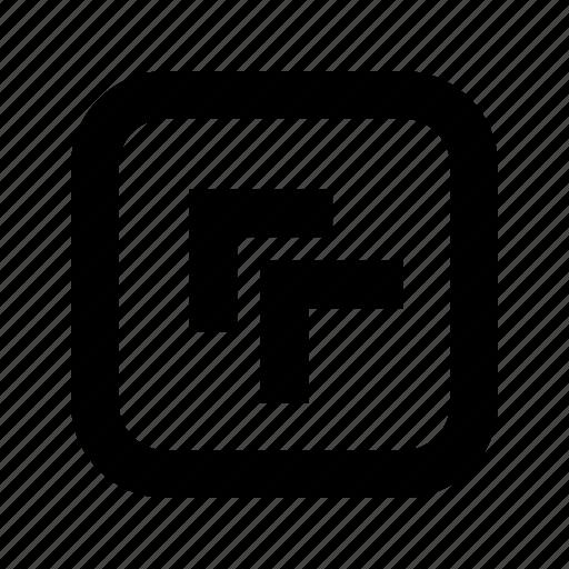 chevron, left, rounded, square, top icon
