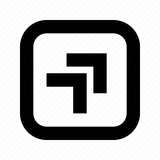 chevron, right, rounded, square, top icon