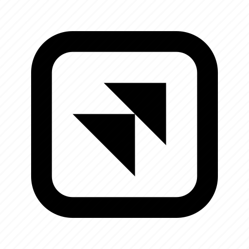 double, right, rounded, square, top, triangle icon