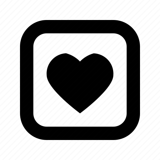 heart, rounded, square icon