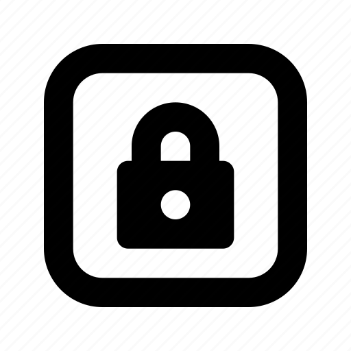 lock, rounded, square icon