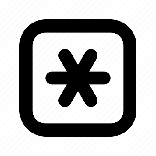 rounded, square, star icon