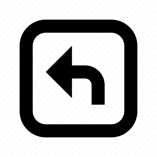 left, rounded, square, turn icon