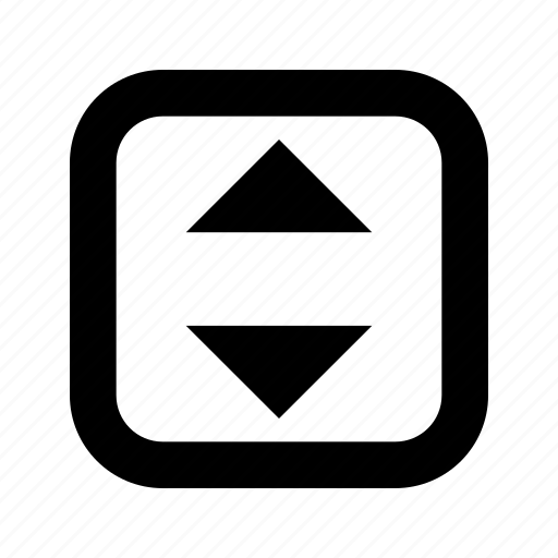 down, rounded, square, up icon