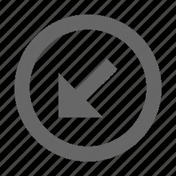 arrow, bottom left, diagonal, direction, down left, navigation icon