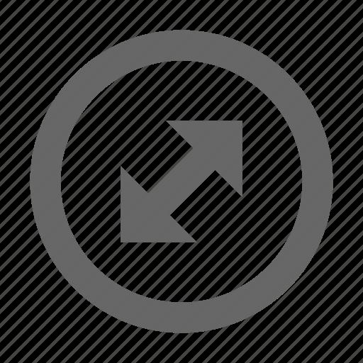 arrow, corners, diagonal, direction, expand, fullscreen, maximize icon