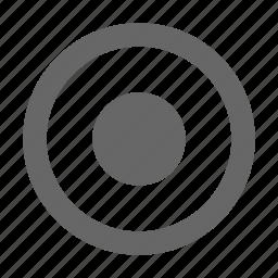 center, circle, dot, radio button, select, selection icon