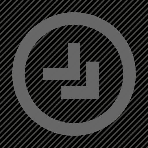 bottom, chevron, circle, right icon