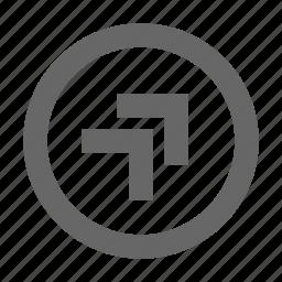 chevron, circle, right, top icon