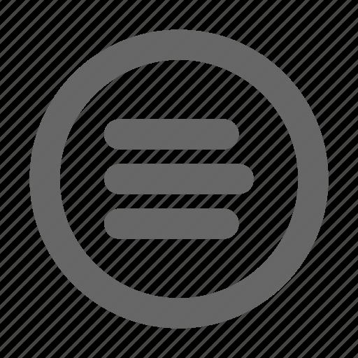 hamburger menu, list, menu, options, preferences, settings icon