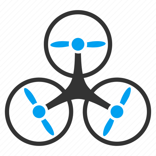 aircraft, flying drone, hover, motor, propeller, rotorcraft, tricopter icon