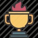 trophy, fire, award, prize, achievement