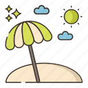 beach, island, parasol, summer icon