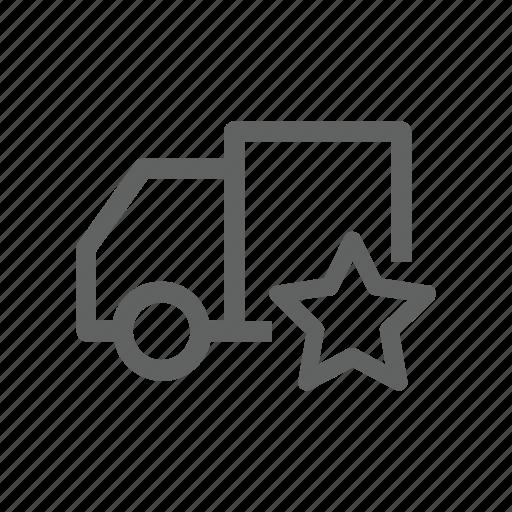 Favorite, star, truck, shipping, transportation icon