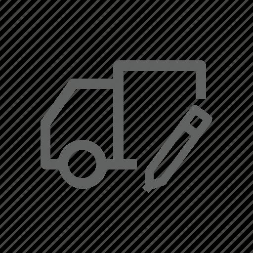 edit, pen, pencil, shipping, transportation, truck icon