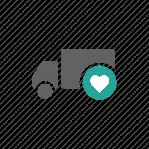 favorite, heart, like, love, shipping, transportation, truck icon