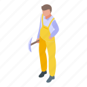 tunnel, road, worker, isometric
