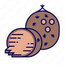 coconut, fruit, fruit icons, raw food icon