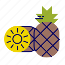 ananas, brown, food, fruit, fruit icon, pineapple, yellow icon
