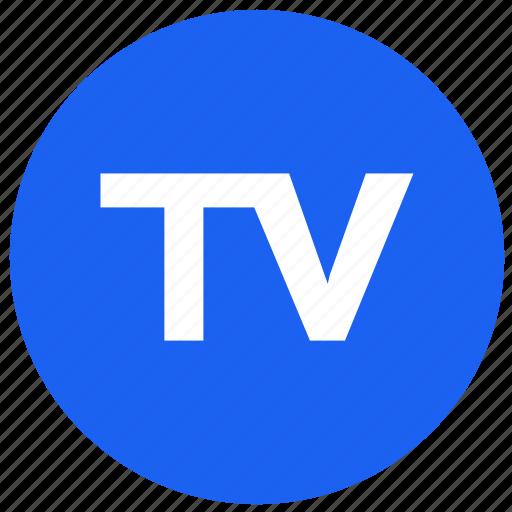feature, label, round, tv icon
