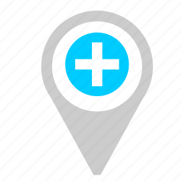 add, location, map, plus, poi, point, pointer icon