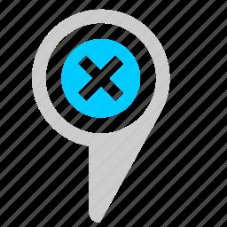 close, delete, location, map, poi, point icon
