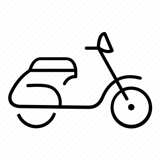 motorbike, motorcycle, scooter, side, view icon