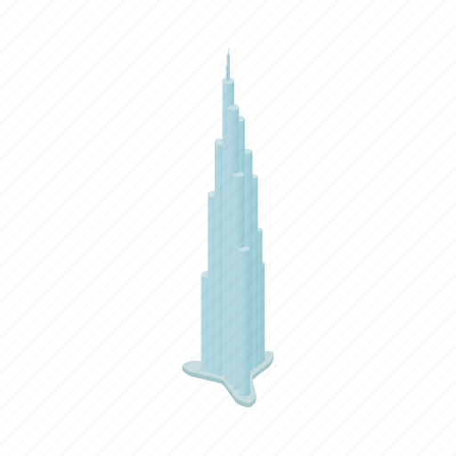 burj, dubai, emirates, isometric, khalifa, modern, travel icon