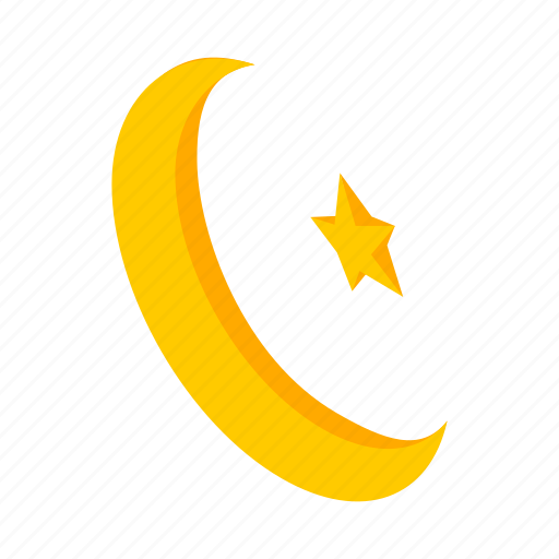 crescent, islam, islamic, isometric, moon, muslim, star icon