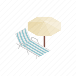 beach, isometric, leisure, lounger, parasol, summer, sun icon