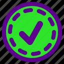 arrow, checkmark, interaction, interface, user icon