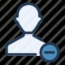 avatar, friend, remove, ui, user, ux icon