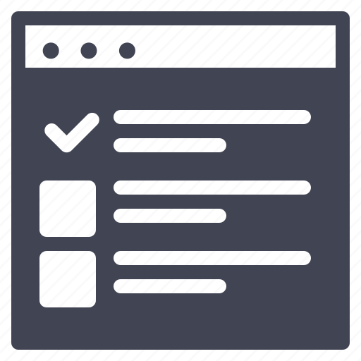 browser, checklist, checkmark, design, ui, website icon