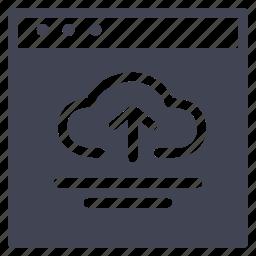 arrow, browser, cloud, design, ui, upload, website icon