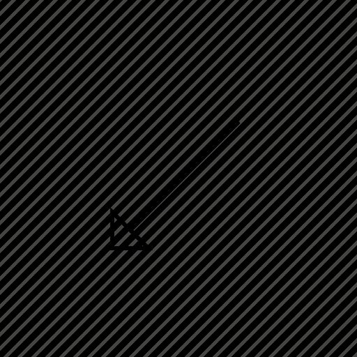 arrow, down, hollow, left, light, ui icon