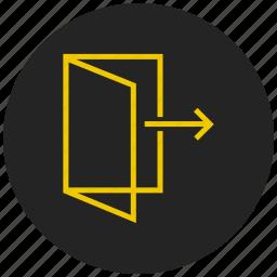apartment, door, entrance, exit, house, logout, open icon