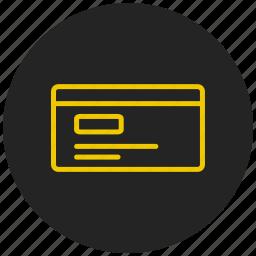 address card, cash, credit card, debit card, identity card, profiles, visiting card icon