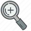 find, glass, in, lens, magnifying, search, zoom icon